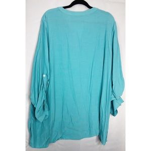 Soft Surroundings Tops - Soft surroundings 3x turquoise roll sleeve shirt